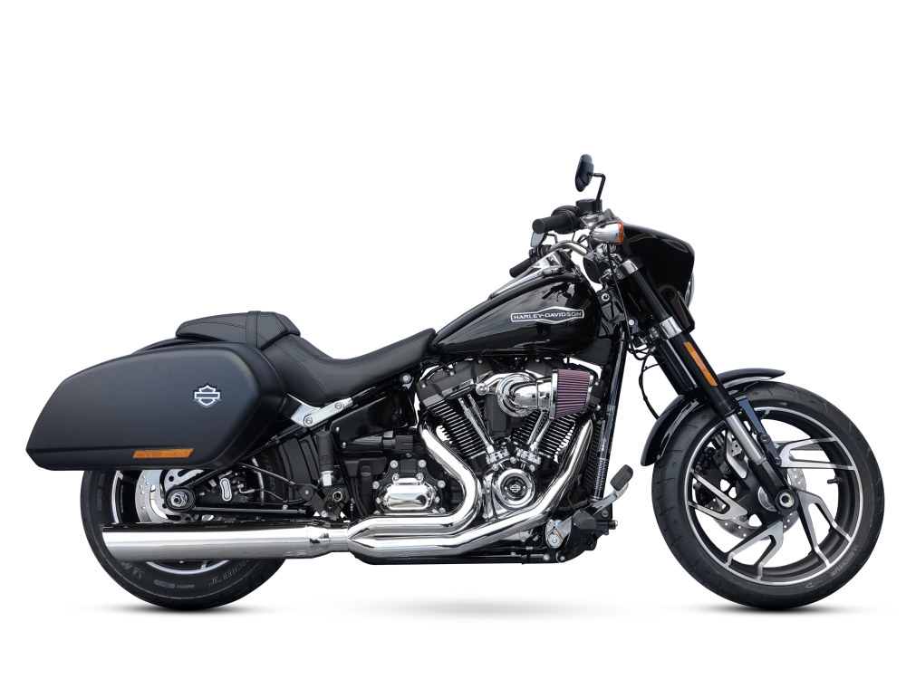 Fat Cat 2-into-1 Exhaust with Straight Muffler & Chrome Finish. Fits M8 Softail Heritage Classic & Sports Glide 2018up Models.