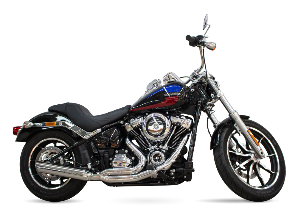 Low Cat 2-into-1 Exhaust with Chrome Finish. Fits M8 Softail 2018up.
