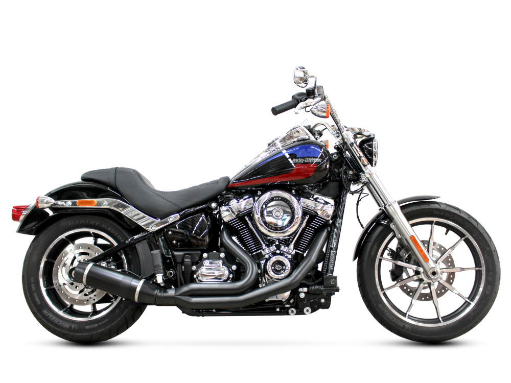 Bob Cat 2-into-1 Exhaust with Black Finish & Black Satin Sleeve Muffler. Fits M8 Softail 2018up.