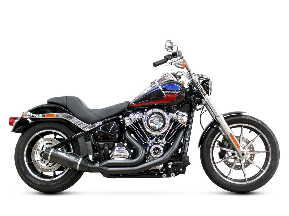 Bob Cat 2-into-1 Exhaust - Black with Carbon Fibre Sleeve Muffler. Fits Softail 2018up.