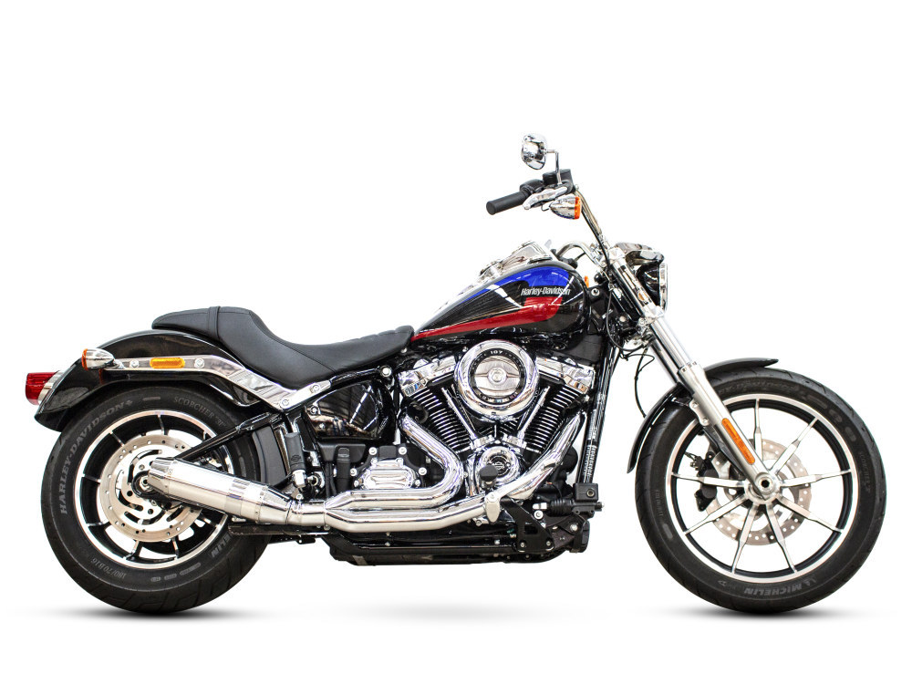 Bob Cat 2-into-1 Exhaust with Chrome Finish & Aluminium Sleeve Muffler. Fits M8 Softail 2018up.