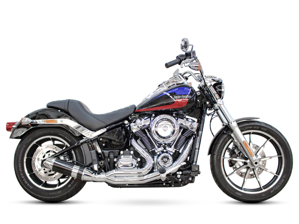 Bob Cat 2-into-1 Exhaust with Chrome Finish & Carbon Fibre Sleeve Muffler. Fits Softail 2018up.