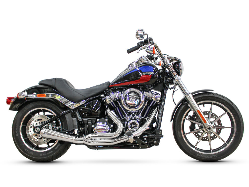 Abuelo Gato 2-into-1 Exhaust with Chrome Finish &  Chrome End Cap. Fits M8 Softail 2018up.
