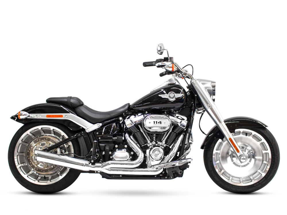 Low Cat 2-into-1 Exhaust with Chrome Finish. Fits M8 Softail 2018up 240 Rear Tyre Models.