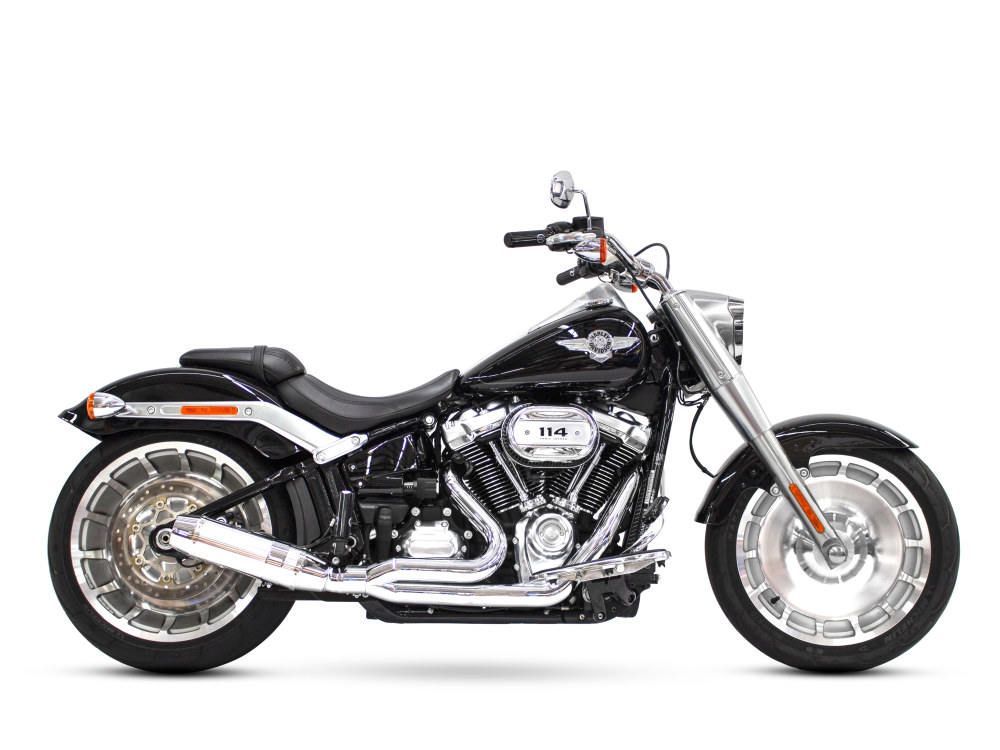 Bob Cat 2-into-1 Exhaust with Chrome Finish & Aluminium Sleeve Muffler. Fits M8 Softail 2018up 240 Rear Tyre Models.