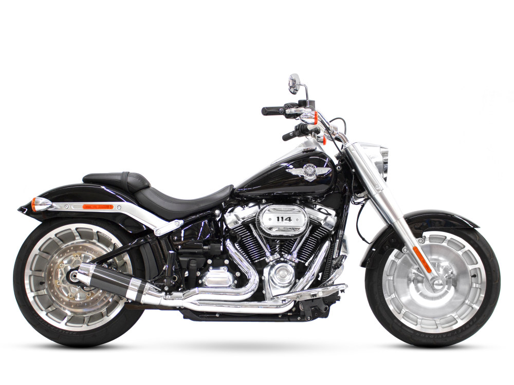 Bob Cat 2-into-1 Exhaust with Chrome Finish & Carbon Fibre Sleeve Muffler. Fits M8 Softail 2018up 240 Rear Tyre Models.
