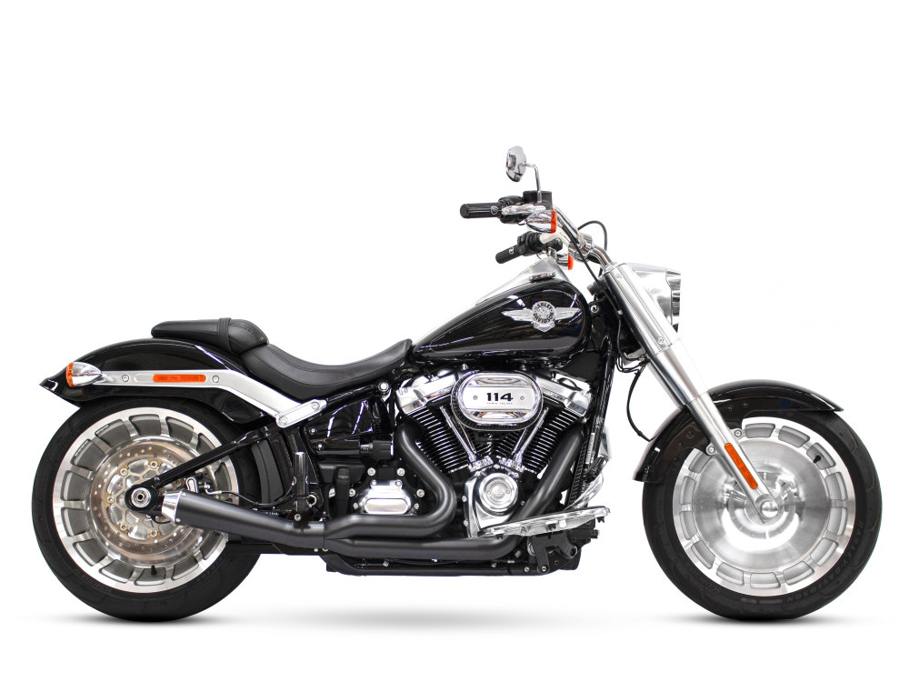 Abuelo Gato 2-into-1 Exhaust with Black Finish & Chrome End Cap. Fits M8 Softail 2018up 240 Rear Tyre Models.