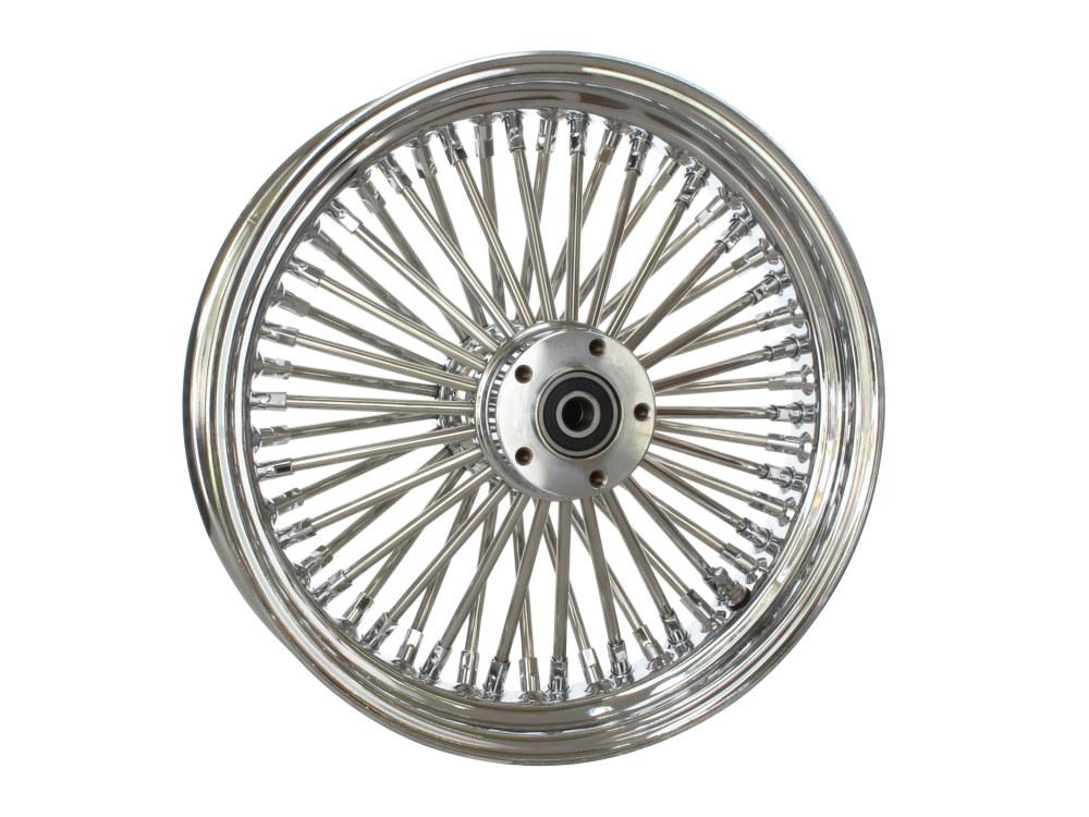16in. x 3.5in. Rear Mammoth 52 Fat Spoke Wheel – Chrome. Fits Softail 2000-2007, Dyna 2000-2005, Sportster 2000-2004 & Touring 2000-2001.