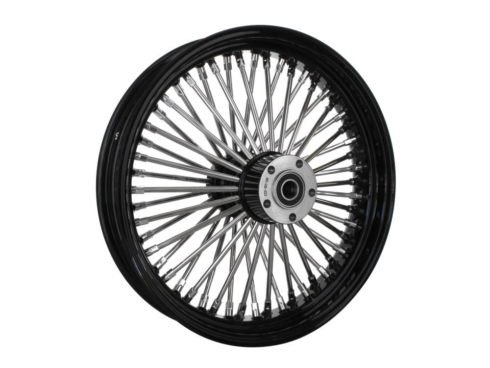 18in. x 3.5in. Rear Mammoth 52 Fat Spoke Wheel – Gloss Black & Chrome. Softail 2011up.