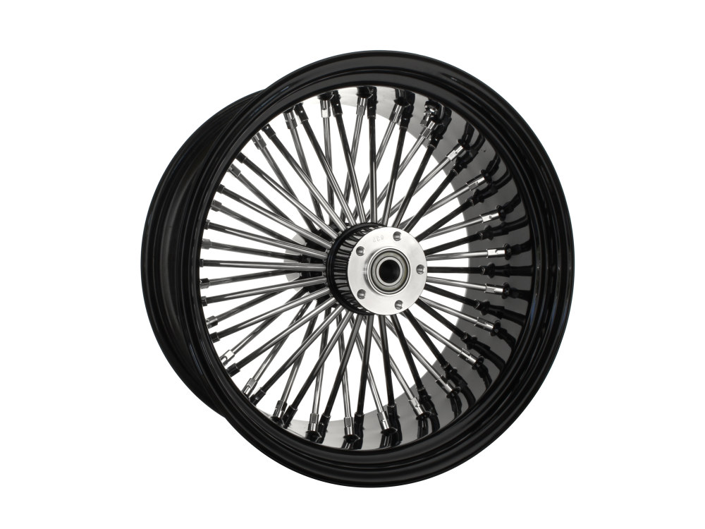 18in. x 8.5in. Rear Mammoth 52 Fat Spoke Wheel – Gloss Black & Chrome. Fits Softail Breakout 2013-2017 & Rocker 2011.