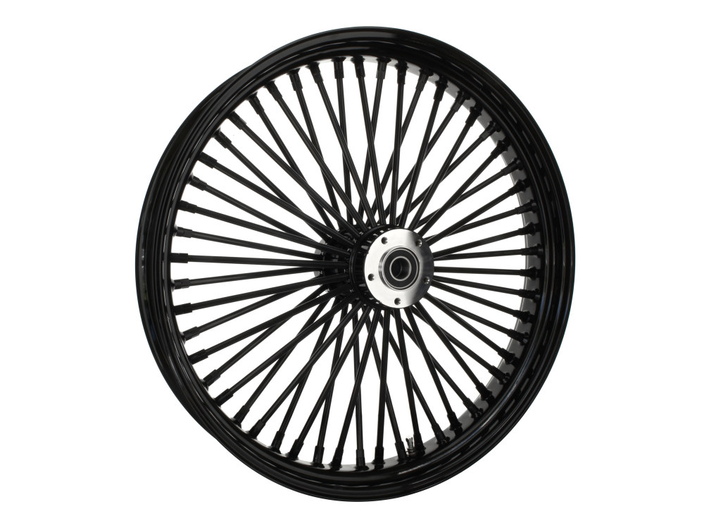 23in. x 3.5in. Front Mammoth 52 Fat Spoke Wheel – Gloss Black. Fits Touring 2008up, Softail Fat Bob 2018up & Softail FXDR 2019-2020.