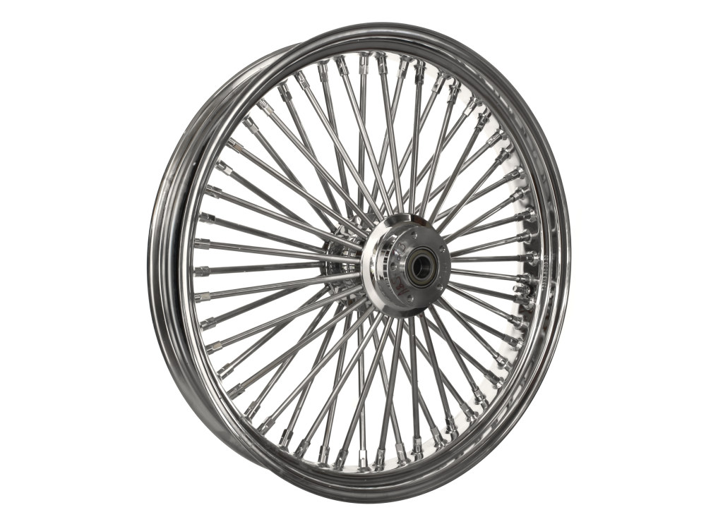 23in. x 3.5in. Front Mammoth 52 Fat Spoke Wheel – Chrome. Fits Touring 2008up, Softail Fat Bob 2018up & Softail FXDR 2019-2020.