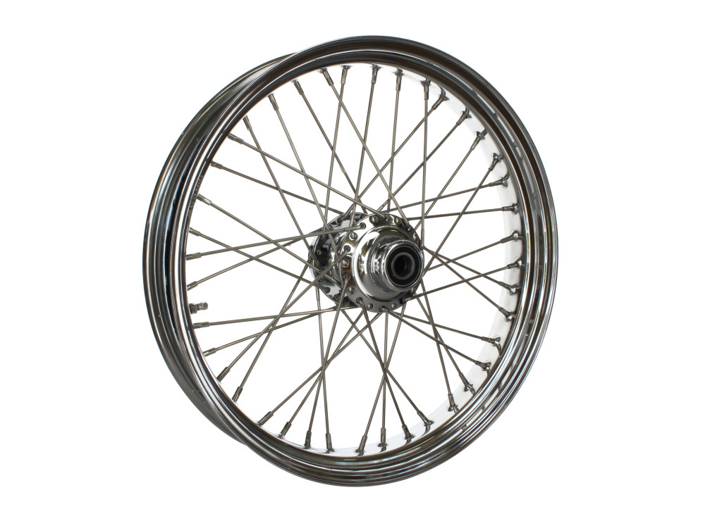 21in. x 3.5in. Front 40 Spoke Crosslaced Wheel – Chrome. Fits FL Softail 2011up.