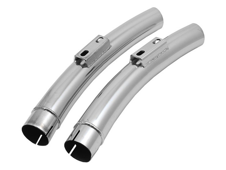 Replacement Quiet Mufflers for Sharp Curve Radius Exhaust with No Cross-Over Chamber. Fits Softail Breakout 2013-2017 & Rocker 2008-2011 Models. (Pair)