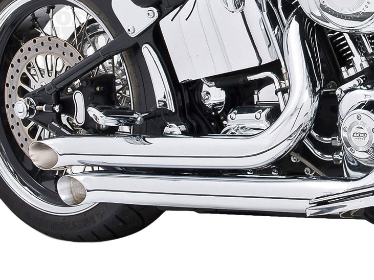 Declaration Turnouts Exhaust with Chrome Finish. Fits Softail 1986-2017.