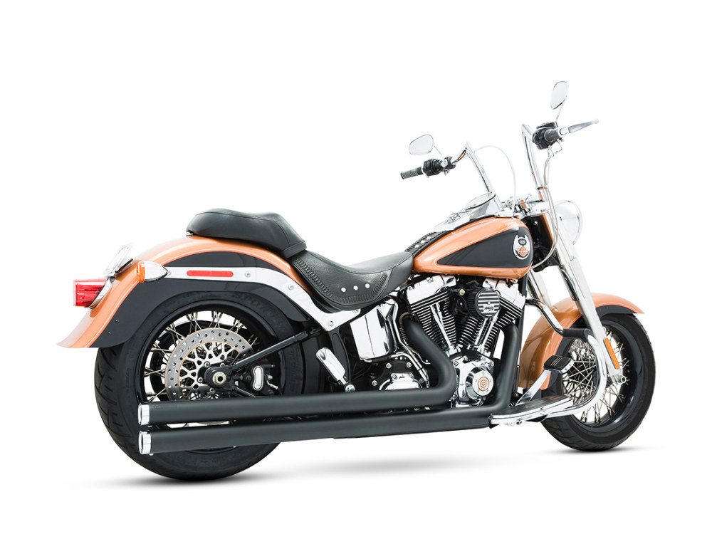 Independence Long Exhaust with Black Finish & Chrome End Caps. Fits Softail 1986-2017.