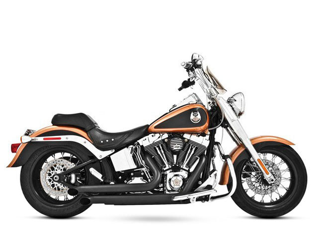 Declaration Turnouts Exhaust with Black Finish. Fits Softail 1986-2017.