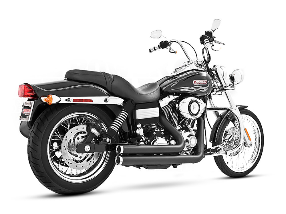 Independence Shorty Exhaust with Black Finish & Chrome End Caps. Fits Dyna 2006-2017.