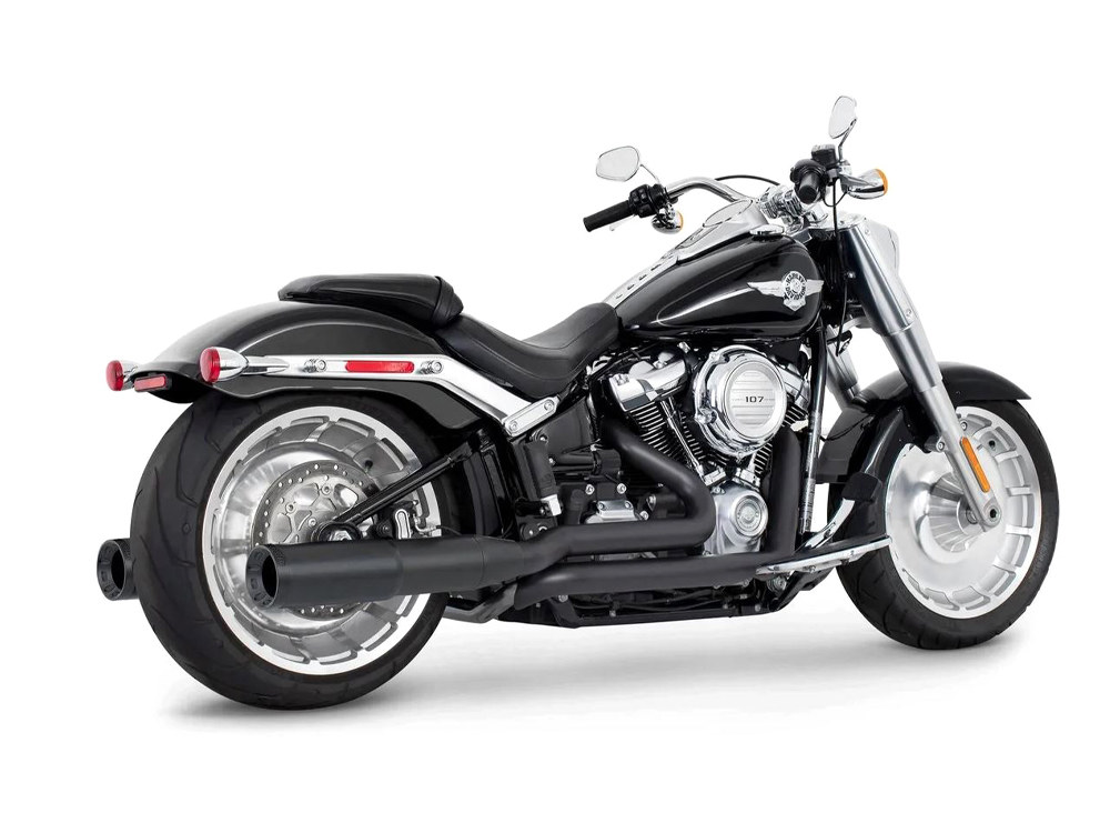 4.5in. Two-Step Trual Dual Exhaust – Black with Pitch Black End Caps. Fits Softail 2018up.