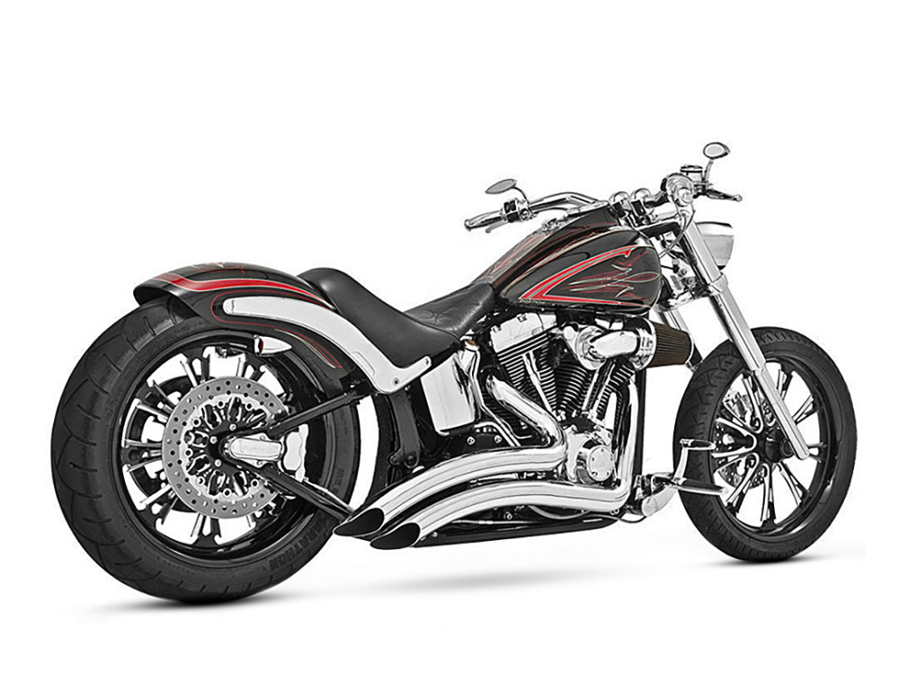 Sharp Curve Radius Exhaust with Chrome Finish. Fits Softail 1986-2017.