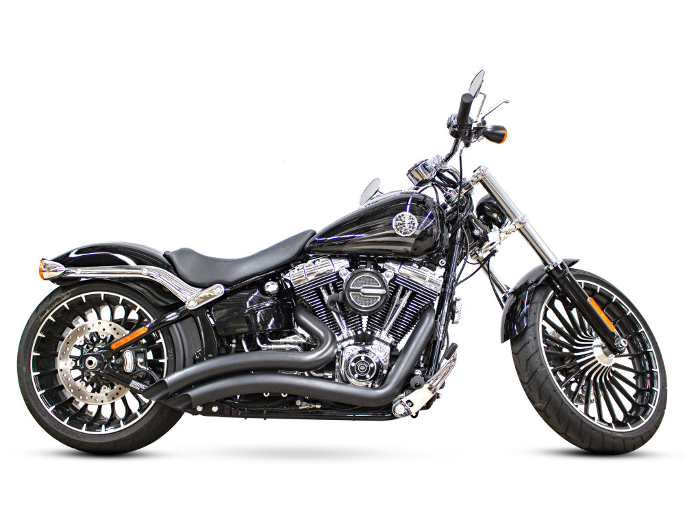 Sharp Curve Radius Exhaust with Black Finish. Fits Softail Breakout 2013-2017 & Rocker 2008-2011 Models.