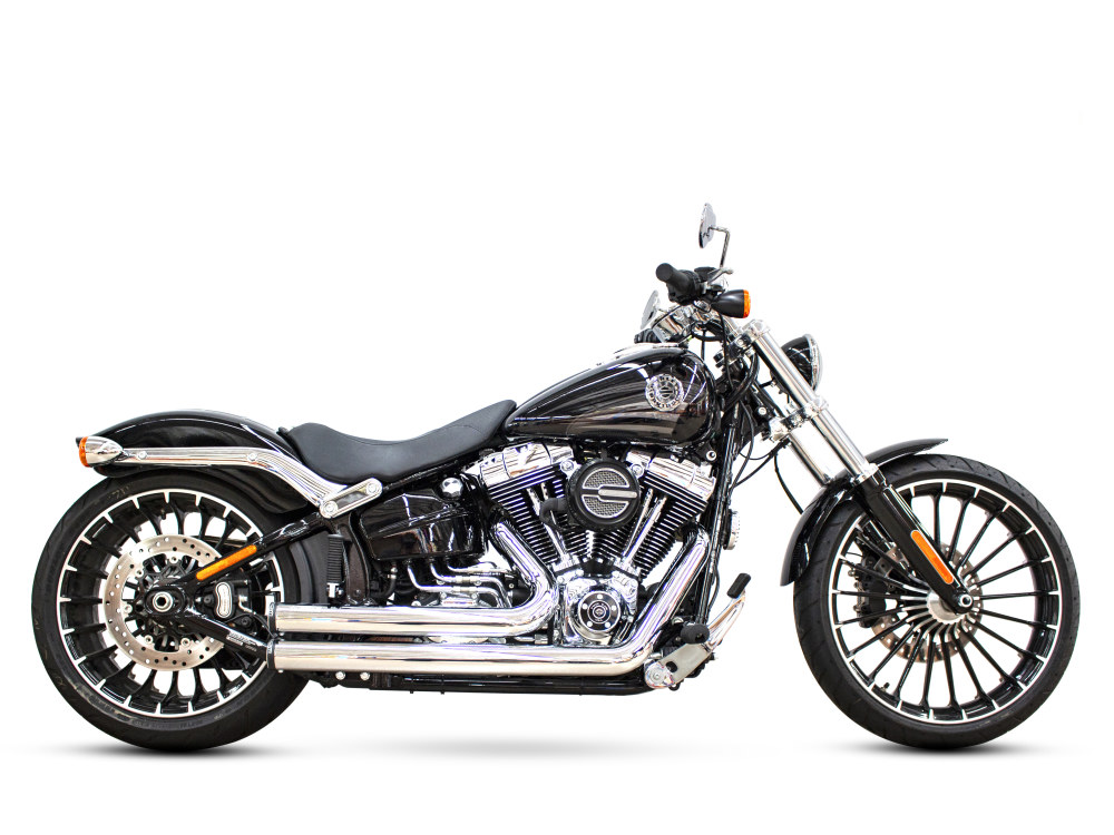 Independence Shorty Exhaust - Chrome with Black End Caps. Fits Softail Breakout 2013-2017 & Rocker 2008-2011.
