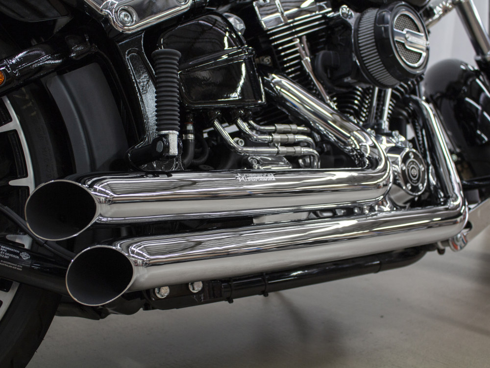 Declaration Turnouts Exhaust with Chrome Finish. Fits Softail Breakout 2013-2017 & Rocker 2008-2011 Models.