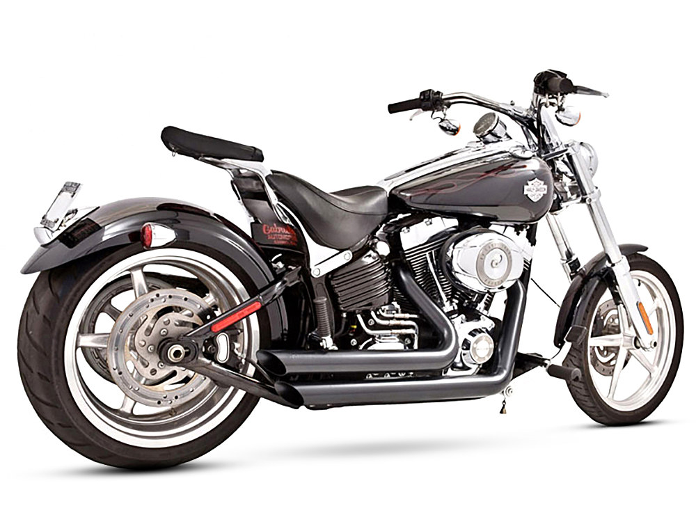 Amendment Exhaust - Black. Fits Softail Breakout 2013-2017 & Rocker 2008-2011.
