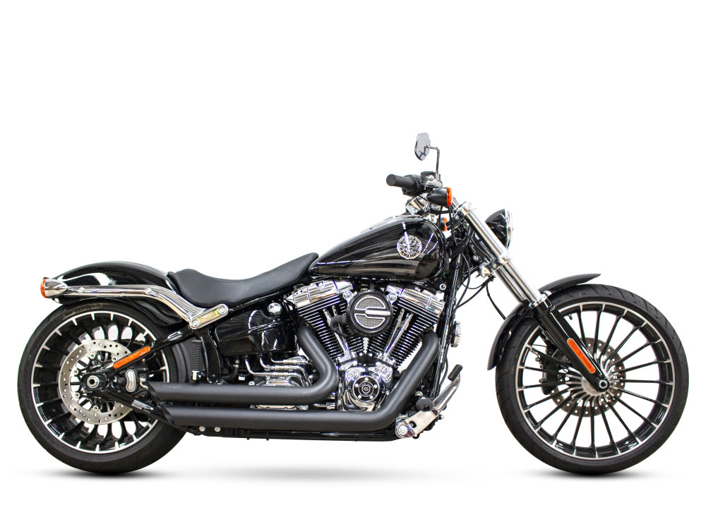 Amendment Exhaust with Black Finish. Fits Softail Breakout 2013-2017 & Rocker 2008-2011 Models.