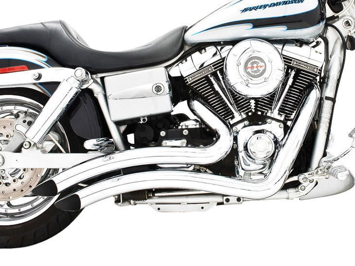 Sharp Curve Radius Exhaust with Chrome Finish. Fits Dyna 1991-2005.