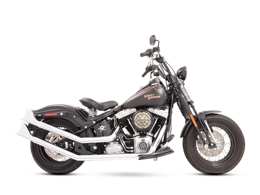 Upsweeps Exhaust with Chrome Finish & Chrome Sharktail End Caps. Fits Softail 1986-2017.