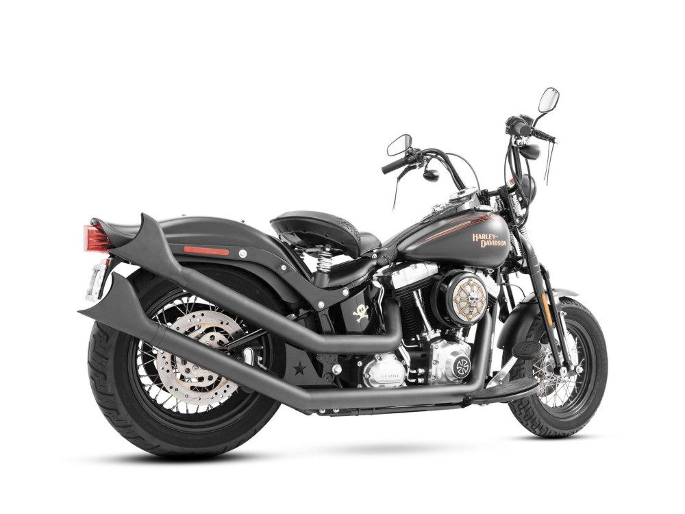 Upsweeps Exhaust with Black Finish & Black Sharktail End Caps. Fits Softail 1986-2017.