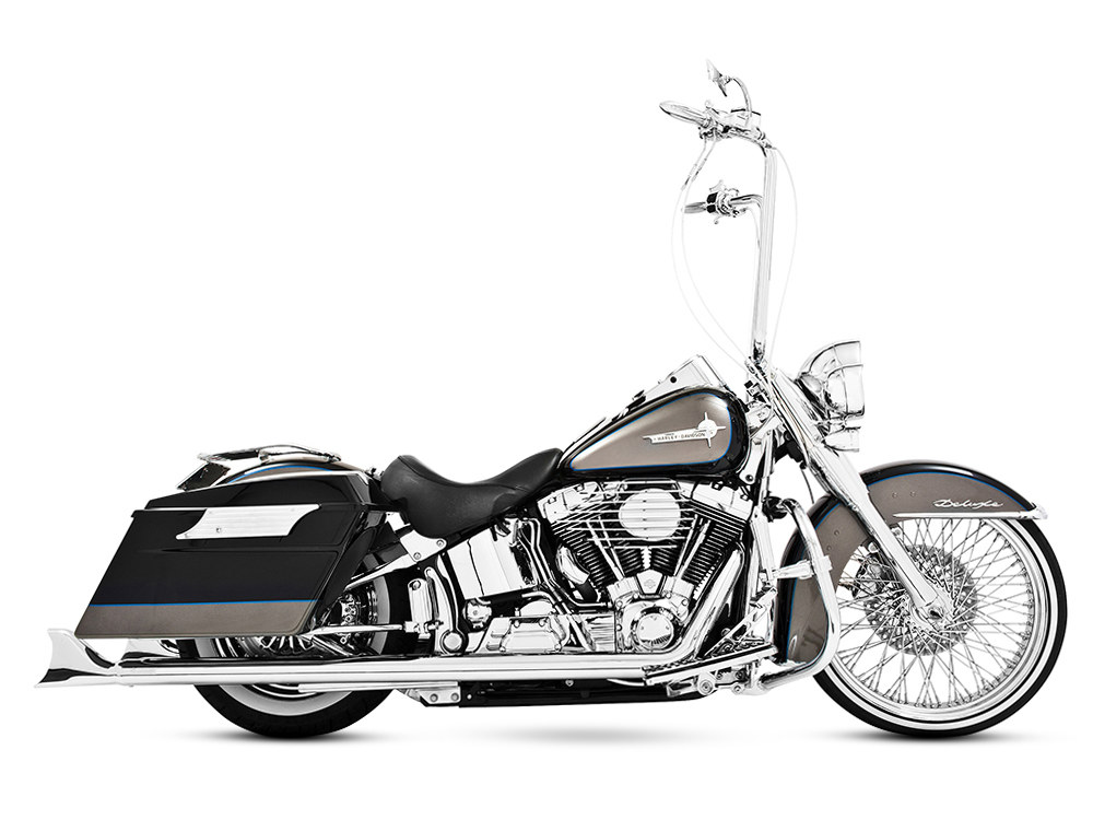 True Dual Exhaust - Chrome with Chrome Sharktail End Caps. Fits Softail 2007-2017. </P><P>