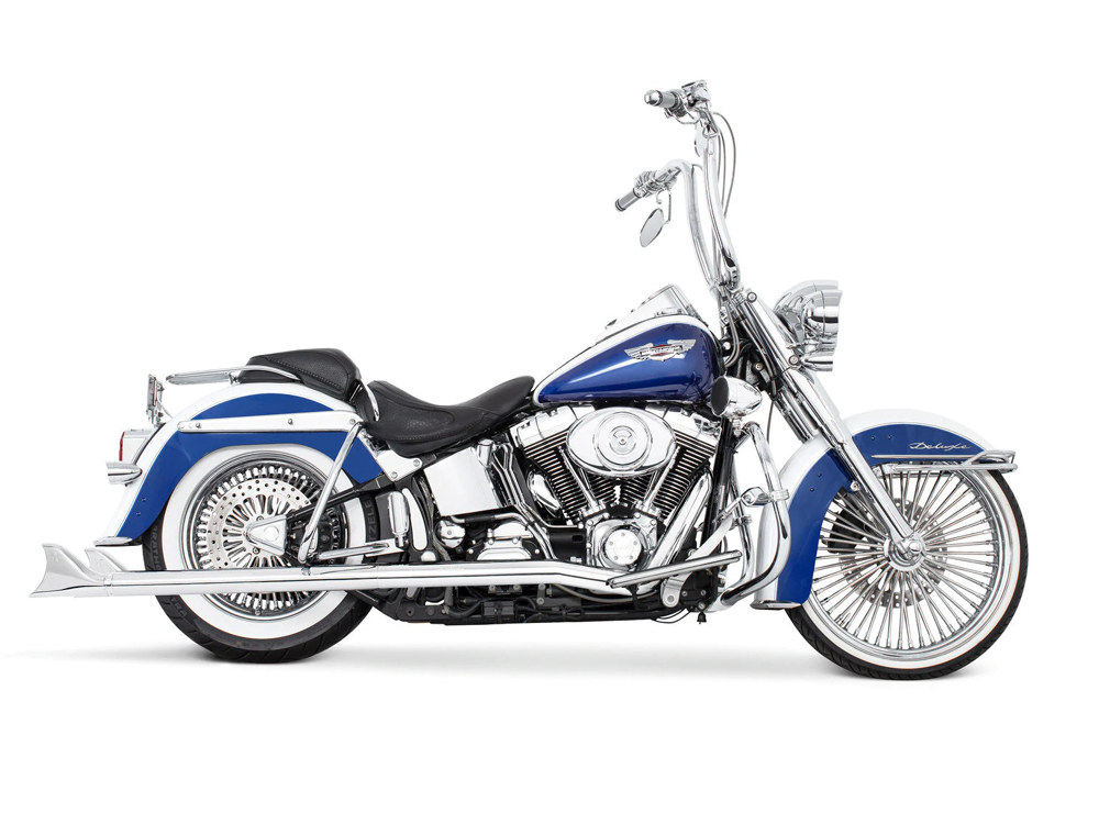 True Dual Exhaust - Chrome with Chrome Sharktail End Caps. Fits Softail 1997-2006.