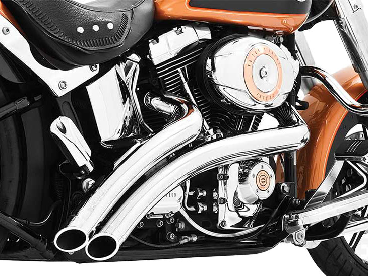 Radical Radius Exhaust - Chrome with Chrome End Caps. Fits Softail 1986-2017.