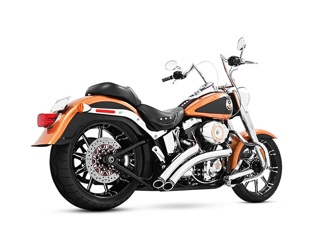 Radical Radius Exhaust with Chrome Finish & Chrome End Caps. Fits Softail 1986-2017.