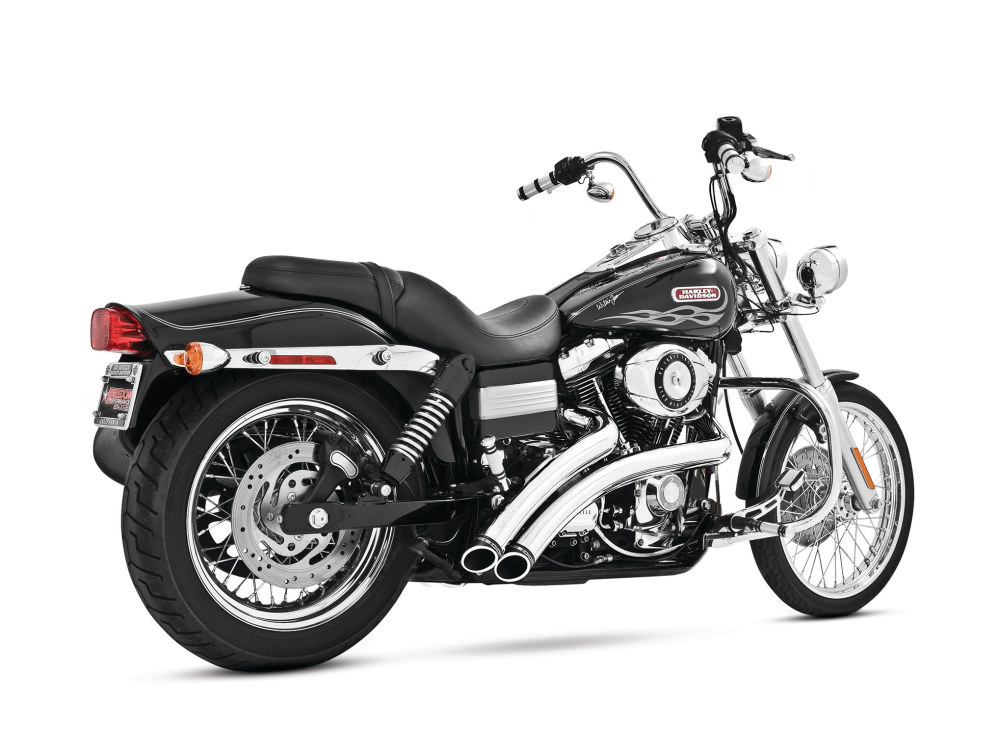 Radical Radius Exhaust with Chrome Finish & Chrome End Caps. Fits Dyna 2006-2017.