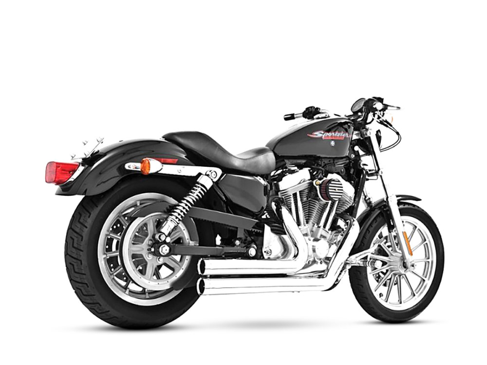 Independence Shorty Exhaust with Chrome Finish & Black End Caps. Fits Sportster 2004up.