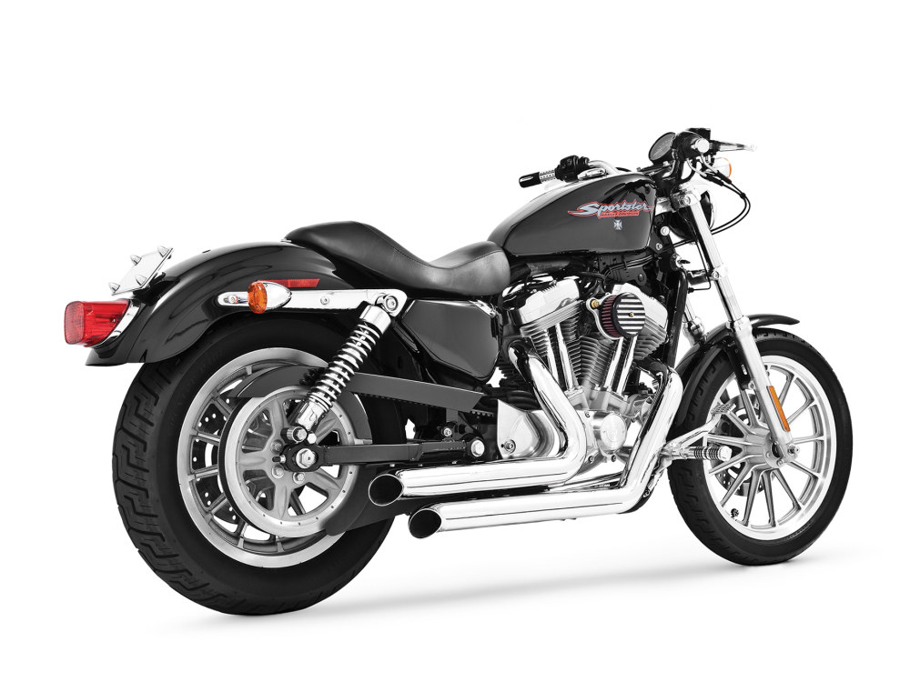 Declaration Turnouts Exhaust with Chrome Finish. Fits Sportster 2004up.