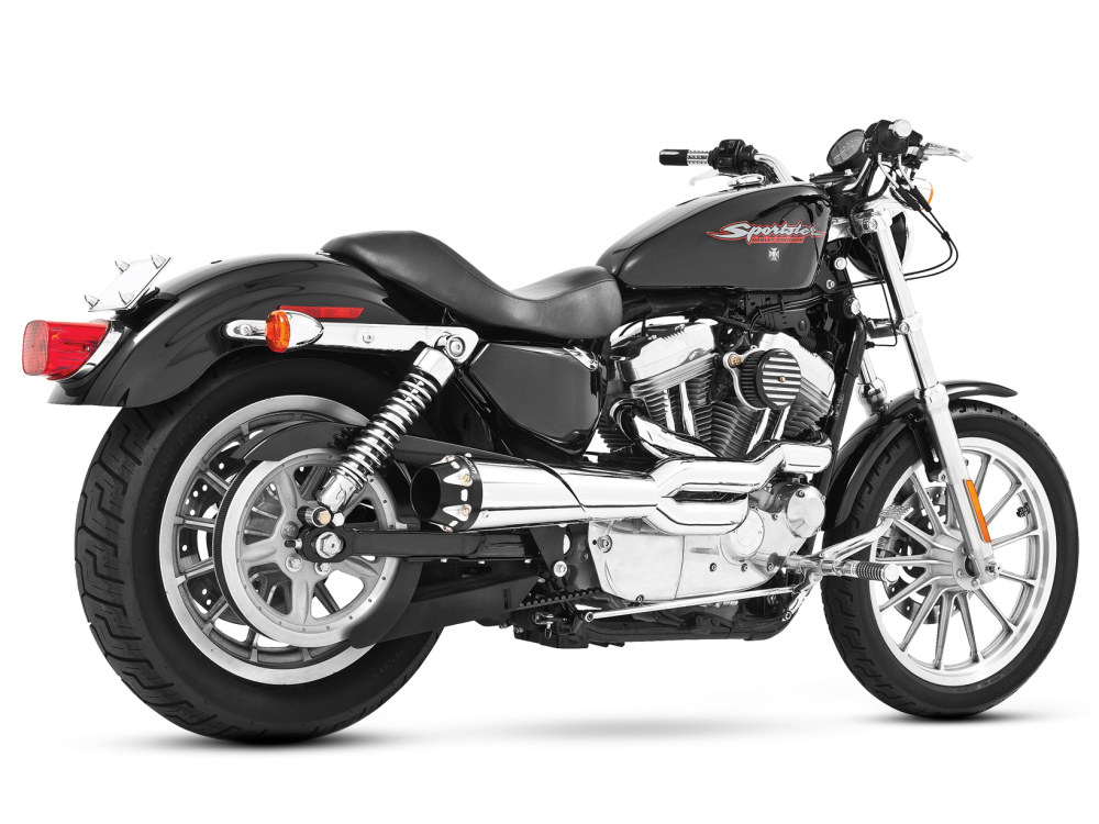 American Outlaw 2-into-1 Exhaust with Chrome Finish & Black End Cap. Fits Sportster 2004up.