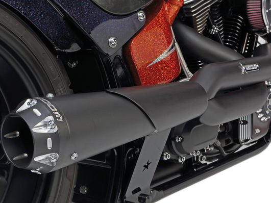 American Outlaw 2-into-1 Exhaust - Black with Black End Cap. Fits Sportster 2004up.