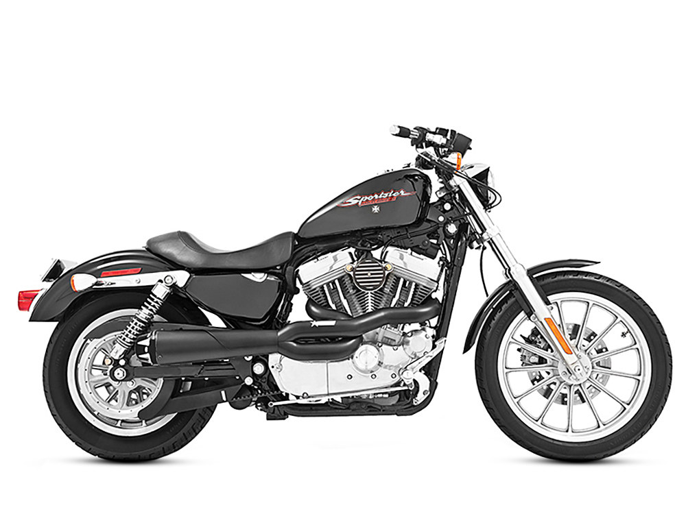 American Outlaw 2-into-1 Exhaust with Black Finish & Black End Cap. Fits Sportster 2004up.