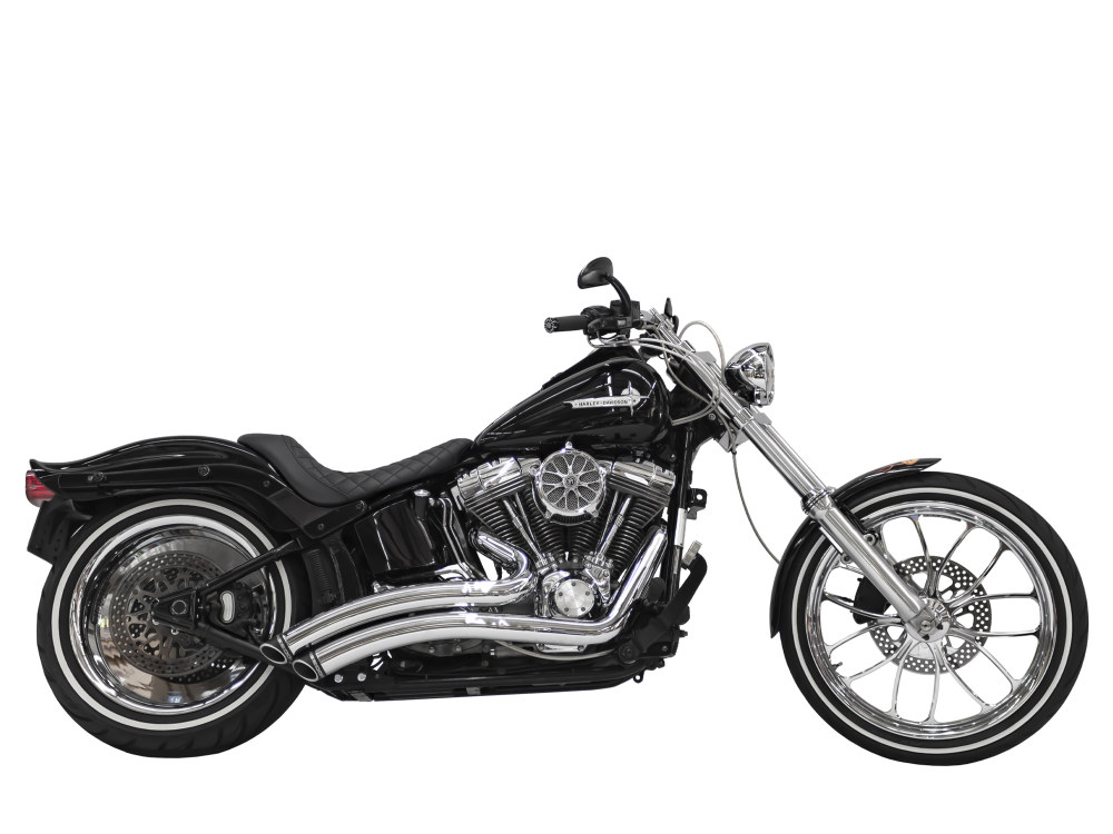 Sharp Curve Radius Exhaust with Chrome Finish & Black End Caps. Fits Softail 1986-2017.