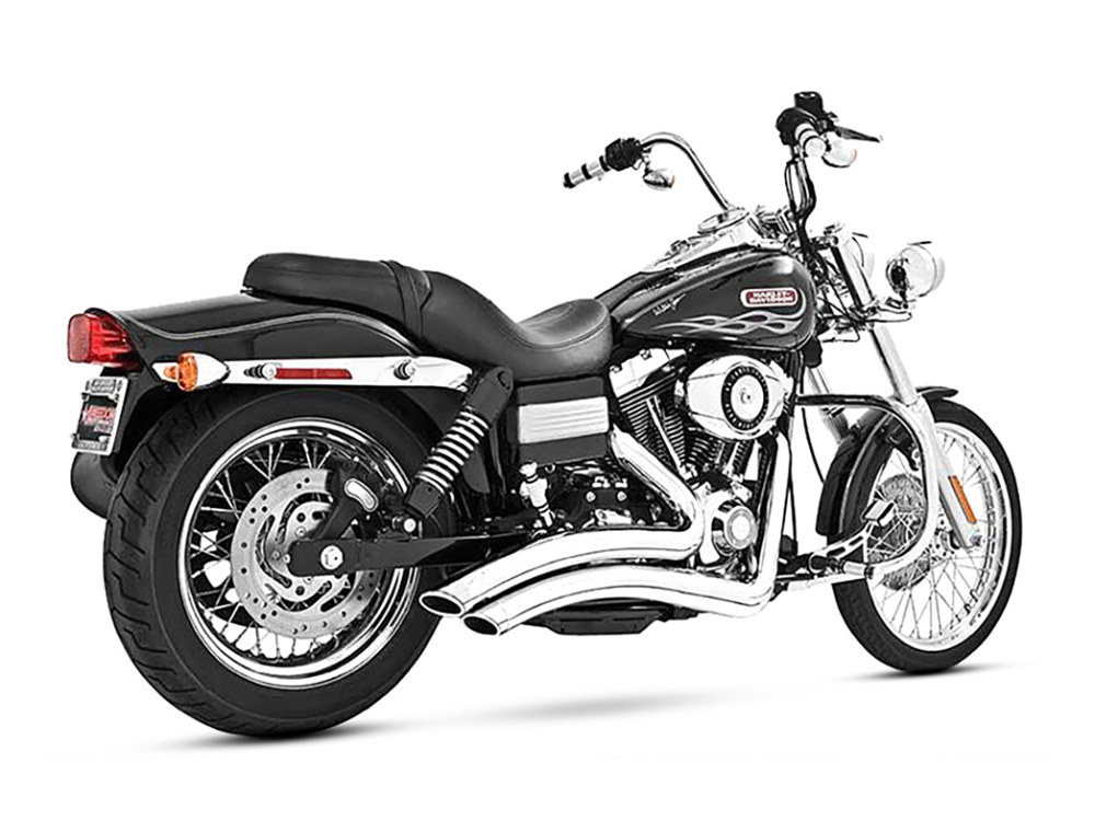 Sharp Curve Radius Exhaust - Chrome with Chrome End Caps. Fits Dyna 2006-2017.