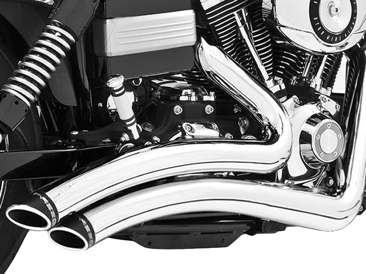 Sharp Curve Radius Exhaust - Chrome with Black End Caps. Fits Dyna 2006-2017.
