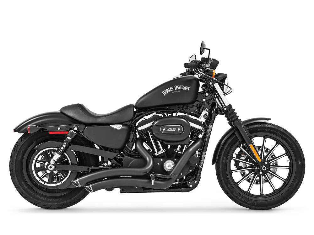 Sharp Curve Radius Exhaust with Black Finish & Black End Caps. Fits Sportster 2004up.