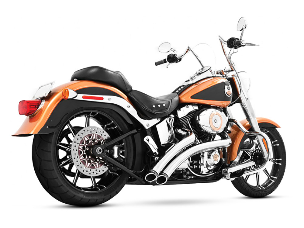 Radical Radius Exhaust - Chrome with Black End Caps. Fits Softail 1986-2017.