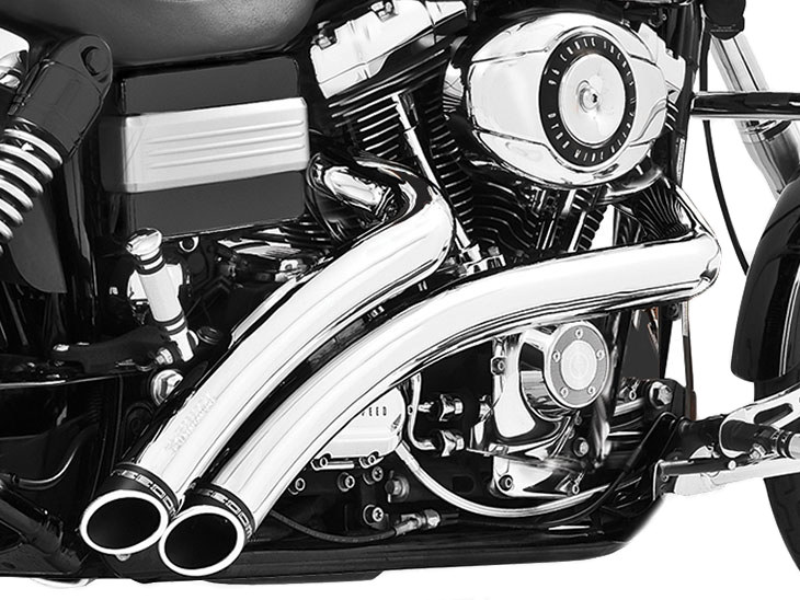 Radical Radius Exhaust with Chrome Finish & Black End Caps. Fits Dyna 2006-2017.