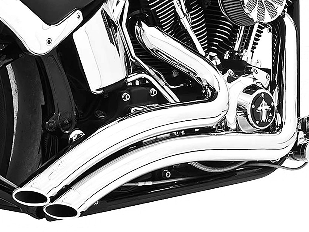 Sharp Curve Radius Exhaust - Chrome with Chrome End Caps. Fits Softail Breakout 2013-2017 & Rocker 2008-2011.