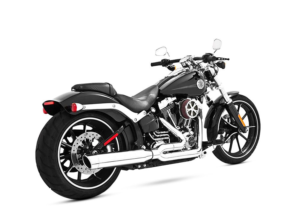 Union 2-into-1 Exhaust - Chrome with Chrome End Caps. Fits Softail Breakout 2013-2017 & Rocker 2008-2011.